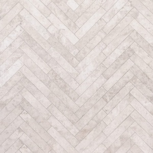 Silver Shadow Honed Large Herringbone Marble Mosaics 12 7/8x8 9/16