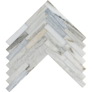 Skyline Honed Large Herringbone Marble Mosaics 12 7/8x8 9/16
