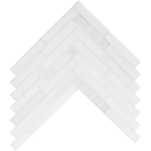 Snow White Polished Large Herringbone Marble Mosaics 12 7/8x8 9/16