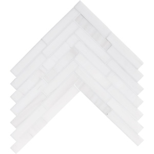 Snow White Honed Large Herringbone Marble Mosaics 12 7/8x8 9/16