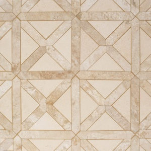 Champagne, Diana Royal Honed Large Lattice Marble Mosaics 13 7/8x13 7/8