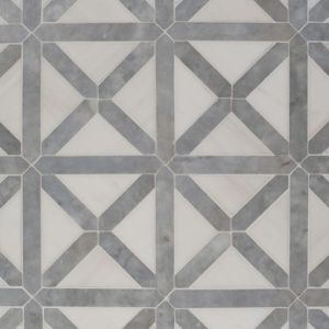 Avenza, Snow White Honed Large Lattice Marble Mosaics 13 7/8x13 7/8