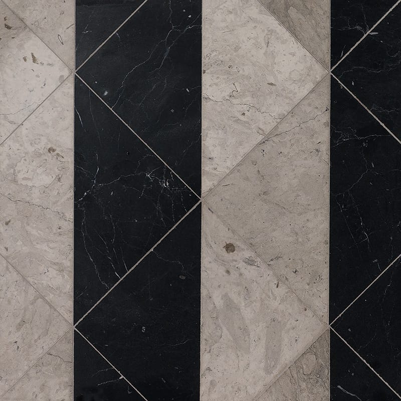 Britannia Black Honed Mcm Square Marble Mosaics 8x8 Country