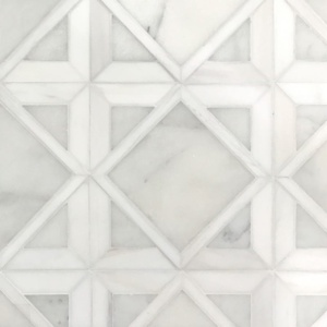 Snow White, Avalon Multi Finish Kent Marble Mosaics 13 9/16x13 9/16