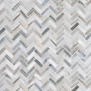 Skyline Polished Herringbone Marble Mosaics 12 1/8x13 3/8