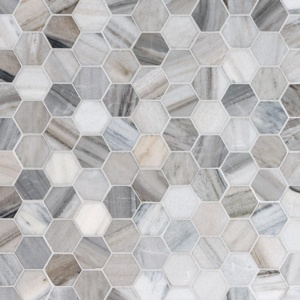 Skyline Honed Hexagon Marble Mosaics 10 3/8x12