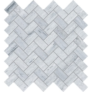 Neptune White Honed Herringbone Marble Mosaics 12 1/8x13 3/8