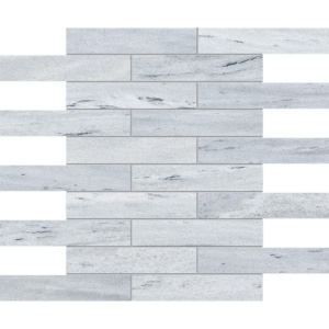Neptune White Honed 1 1/4x6 Marble Mosaics 12x12
