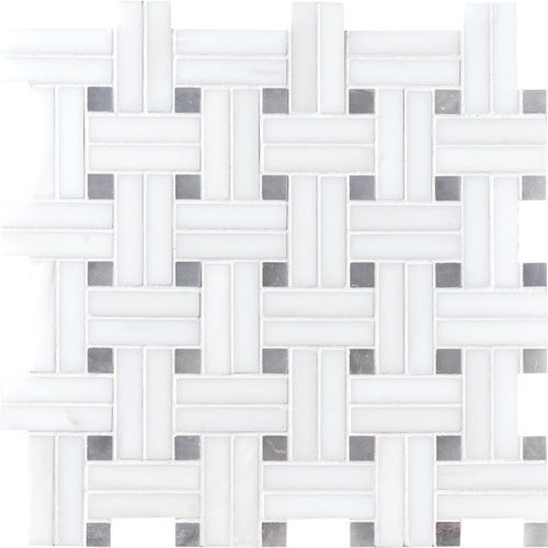 Snow White Polished Diagonal Basket Weave Marble Mosaics 12×12