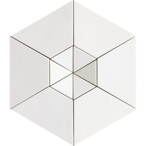 Aspen White Honed Hexagon 2 Marble Mosaics 10 5/8