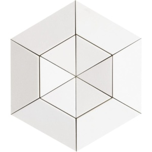 Aspen White Honed Hexagon 2 15/16 Marble Mosaics 10 5/8