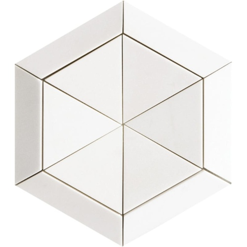 Aspen White Honed Hexagon 3 15/16 Marble Mosaics 10 5/8