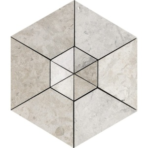 Britannia Leather Hexagon 2 Limestone Mosaics 10 5/8