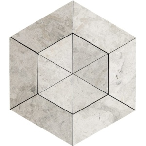 Britannia Leather Hexagon 2 15/16 Limestone Mosaics 10 5/8