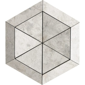 Britannia Leather Hexagon 3 15/16 Limestone Mosaics 10 5/8