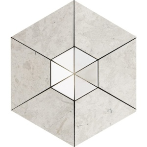 Britannia, Aspen White Honed Hexagon 2 Marble Mosaics 10 5/8
