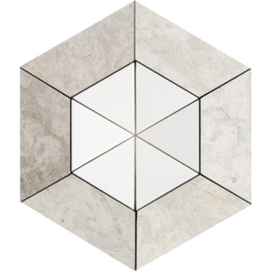 Britannia, Aspen White Honed Hexagon 2 15/16 Marble Mosaics 10 5/8