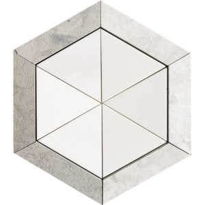 Britannia, Aspen White Honed Hexagon 3 15/16 Marble Mosaics 10 5/8