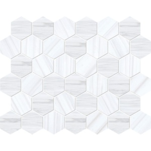 Bianco Dolomiti Classic Polished Hexagon Marble Mosaics 10 3/8x12