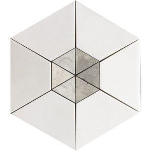 Aspen White, Britannia Multi Finish Cell Hexagon 2 Marble Mosaics 10 5/8