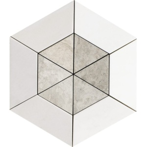 Aspen White, Britannia Multi Finish Cell Hexagon 2 15/16 Marble Mosaics 10 5/8