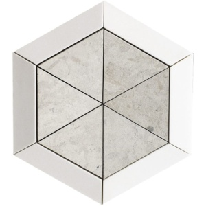 Aspen White, Britannia Multi Finish Cell Hexagon 3 15/16 Marble Mosaics 10 5/8
