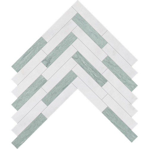 Verde Capri, Glacier Leather Large Herringbone Marble Mosaics 12 7/8×8 9/16