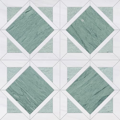 Verde Capri, Snow White Multi Finish Kent Marble Mosaics 13 9/16×13 9/16