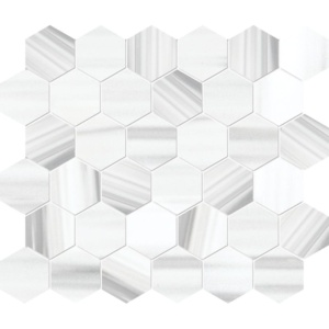 Frost White Honed Marble Mosaics 10 3/8x12
