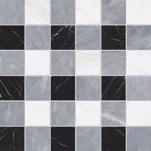 Allure Light, Snow White, Black Honed 2×2 Marble Mosaics 12×12