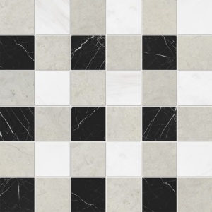 Britannia Light, Snow White, Black Honed 2x2 Limestone Mosaics 12x12