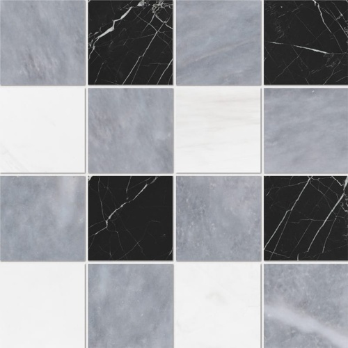 Allure Light, Snow White, Black Honed 4×4 Marble Mosaics 16×16