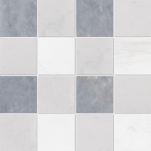 Allure Light, Snow White, Glacier Honed 4x4 Marble Mosaics 16x16