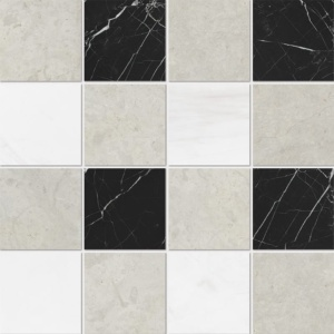 Britannia Light, Snow White, Black Honed 4x4 Marble Mosaics 16x16
