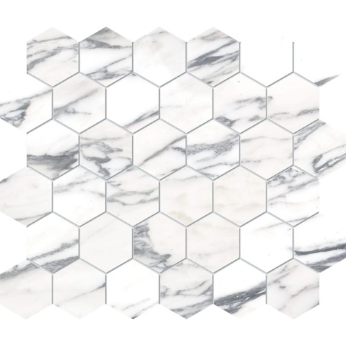 Calacatta Arabescato Polished Hexagon Marble Mosaics 10 3/8×12