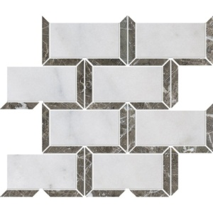 Avalon, Silver Drop Polished Cascade Marble Mosaics 9 5/8x11 13/16
