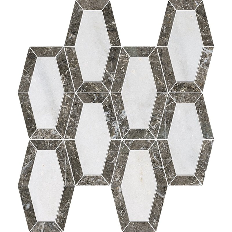 Avalon, Silver Drop Polished Lincoln Marble Mosaics 10 1/4x12 13/16