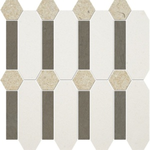 Champagne, Bosphorus, Seashell Honed Pillar Limestone Mosaics 13x13