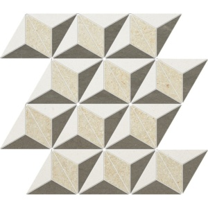 Champagne, Seashell, Bosphorus Honed Diamond 3d Limestone Mosaics 15 3/8x13 3/4