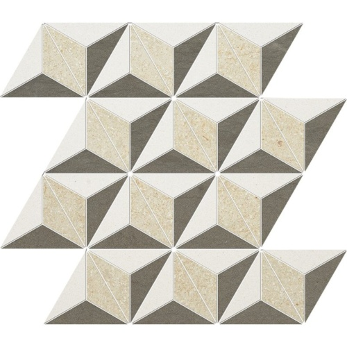 Champagne, Seashell, Bosphorus Honed Diamond 3d Limestone Mosaics 15 3/8×13 3/4
