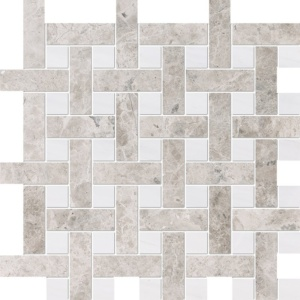 Silver Clouds, Snow White Multi Finish Basket Weave 1x3 Marble Mosaics 12 5/8x12 5/8