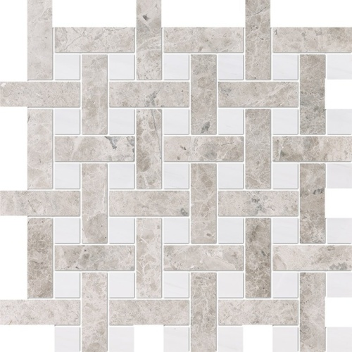Silver Clouds, Snow White Multi Finish Basket Weave 1×3 Marble Mosaics 12 5/8×12 5/8