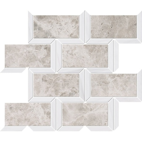 Silver Clouds, Snow White Multi Finish Cascade Marble Mosaics 9 5/8×11 13/16