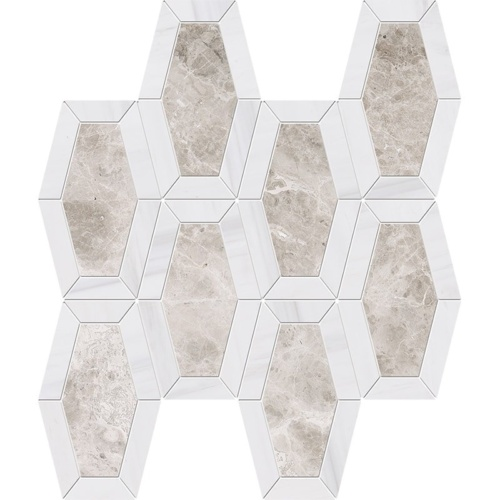 Silver Clouds, Snow White Multi Finish Lincoln Marble Mosaics 10 1/4×12 13/16
