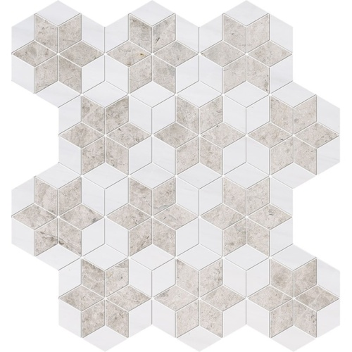 Silver Clouds, Snow White Multi Finish Stars Marble Mosaics 14 3/16×14 15/16