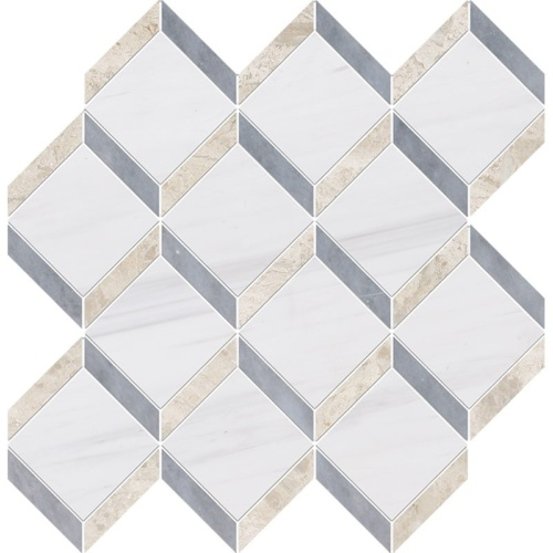 Snow White, Diana Royal, Allure Polished Steps 3d Marble Mosaics 14 9/16×14 15/16
