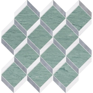 Verde Capri, Snow White, Allure Honed Steps 3d Marble Mosaics 14 9/16x14 15/16