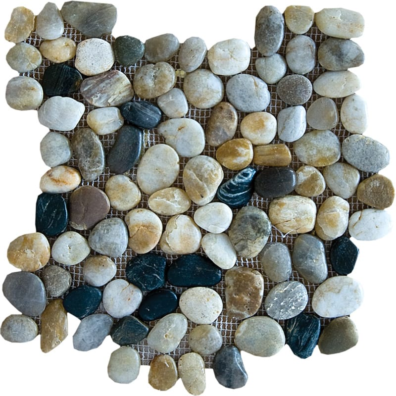 Multicolor Polished Pebble Stone Pebble Mosaics 12x12