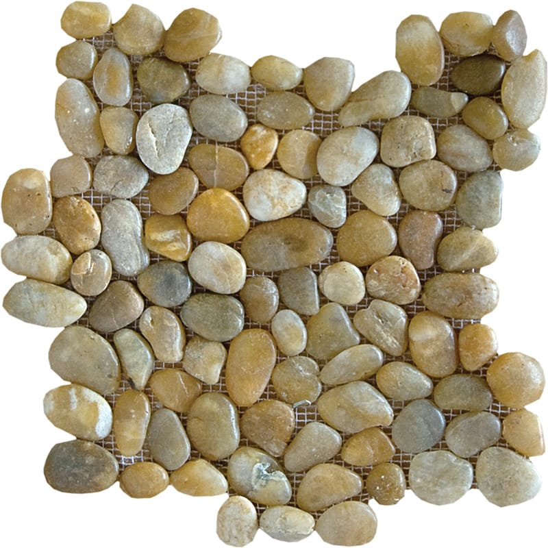Gold Roc Polished Pebble Stone Pebble Mosaics 12x12