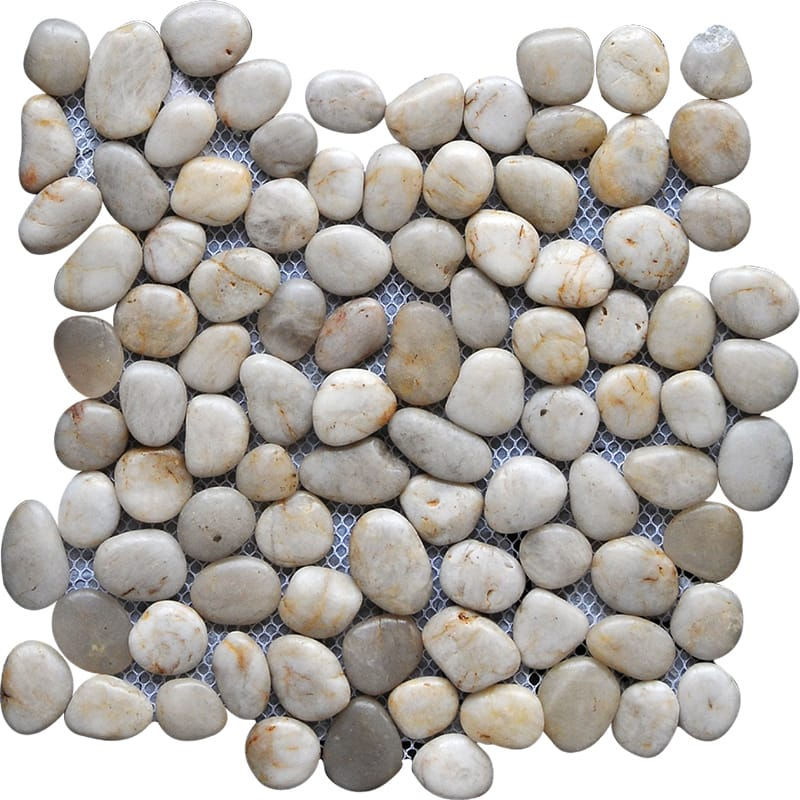White Cloud Polished Pebble Stone Pebble Mosaics 12x12